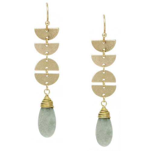 Natural Stone Wired Drop Geometric Earrings