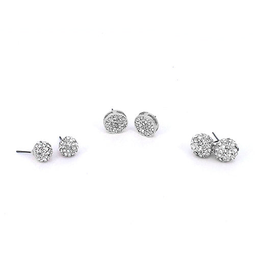 3 Pairs Crystal Ball Studs Earrings