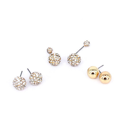 Crystal Ball 3 Pair Stud Earrings Set