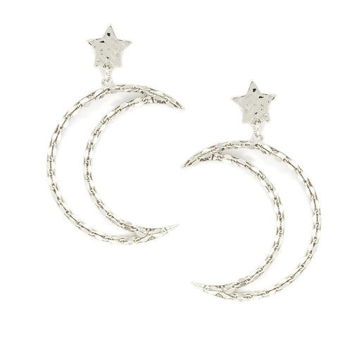 Star And Crescent Moon Drop Metal Earrings