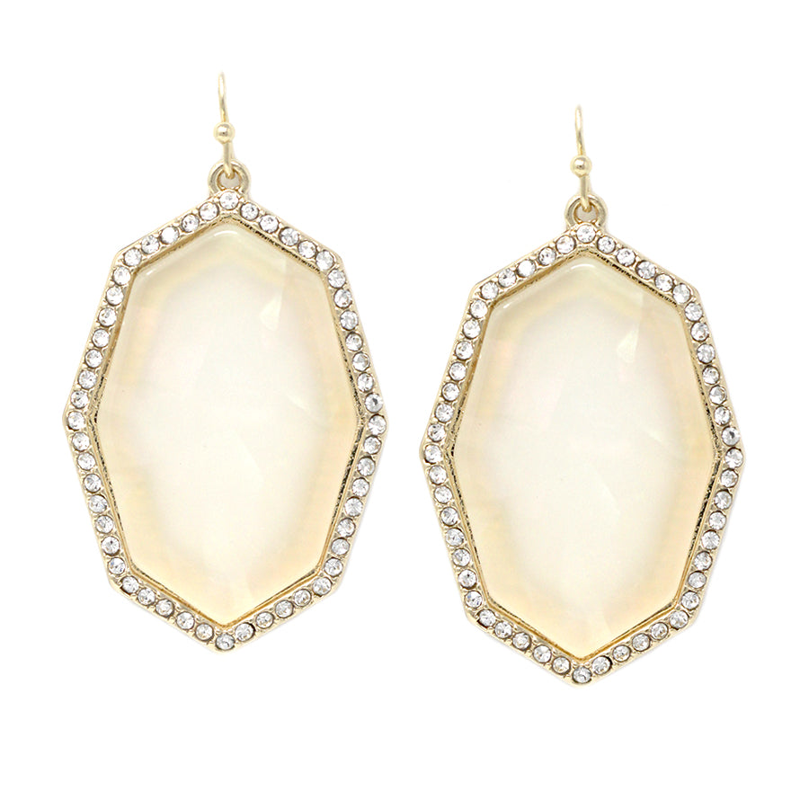 Glass Pave Frame Shell Texture Drop Earrings