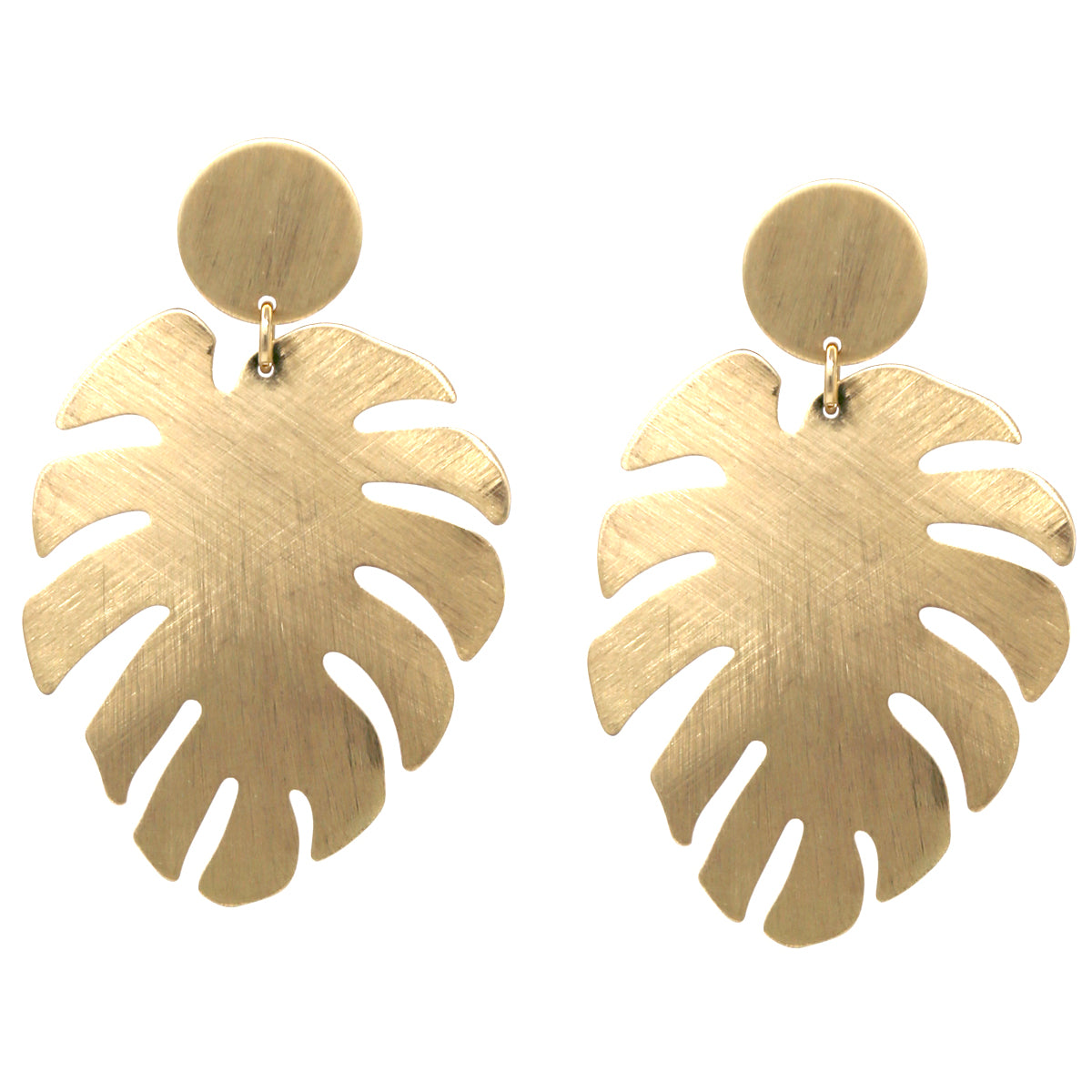 Brush Texture Metal Leaf Drop Earrings