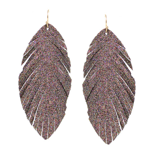Multi Color Glitter Leaf Fringe Drop Earrings