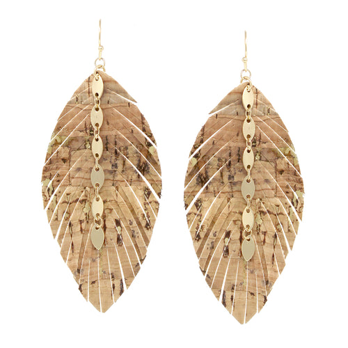 Teardrop Shape Faux Leather Fringe With Chain Drop Earrings