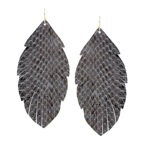Snake Skin Print Genuine Leather Leaf Shape Drop Earrings