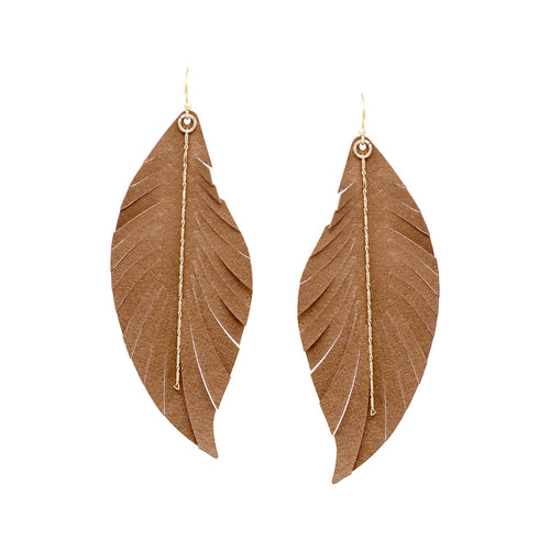 Feather Shape Genuine Leather Fringe With Chain Drop Earrings