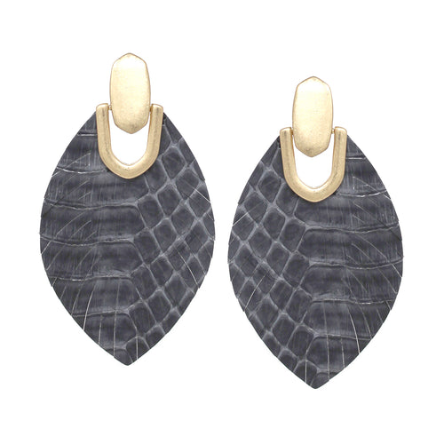 Snake Skin Print Genuine Leather Fringe Drop Earrigns