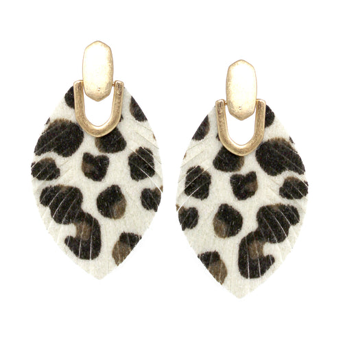Leopard Print Leather Fringe Drop Earrings