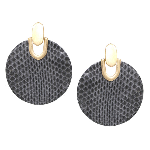 Snake Skin Print Genuine Leather Drop Earrings