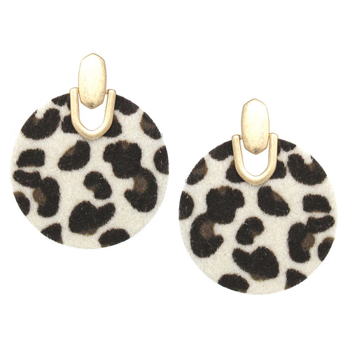 Metal Plate With Leopard Print Disc Drop Earrings