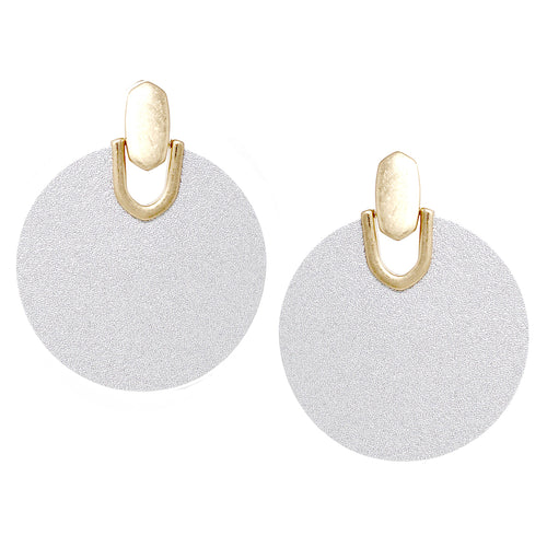 Metal Plate With Faux Leather Disc Drop Earrings