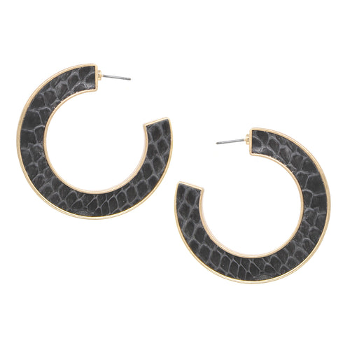 Snake Skin Print Genuine Leather Embellished Hoop Earrings