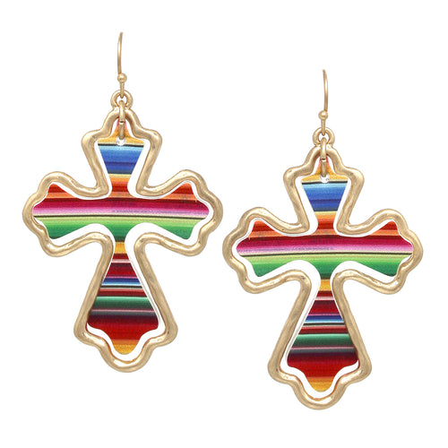 Cross Shape Multi Color Faux Leather Drop Earrings