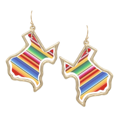 Texas State Map Multi Color Faux Leather Drop Earrings