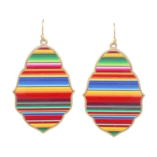 Moroccan Shape Multi Color Faux Leather Drop Earrings