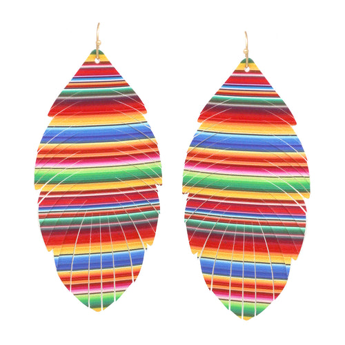 Multi Color Leaf Shape Fringe Drop Earrings