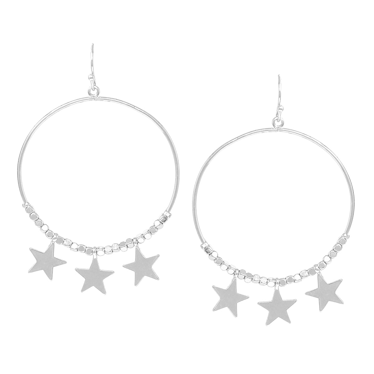 Triple Star With Hoop Drop Earrings