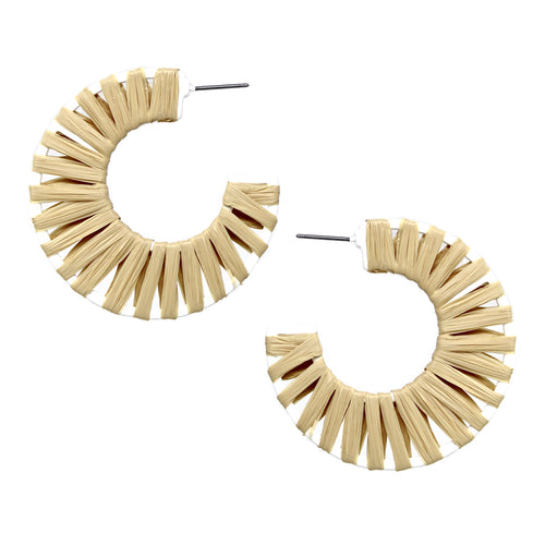 Raffia Wrapped Hoop Earrings