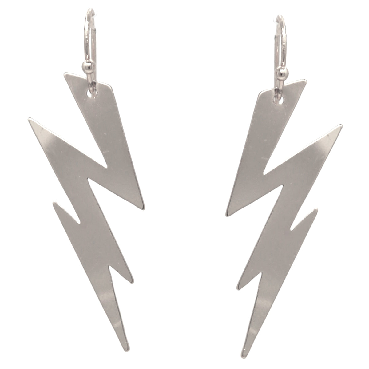 Metal Lightning Bolt Drop Earrings