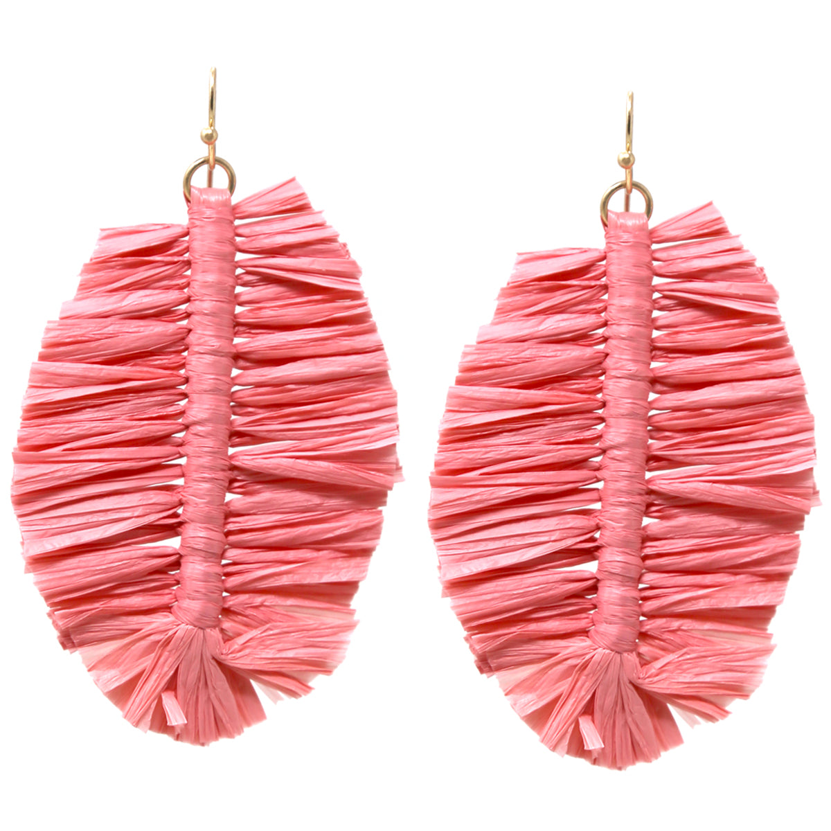 Raffia Fringed Leaf Drop Earrings