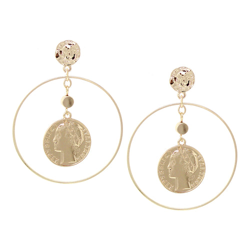 Coin With Hoop Layered Drop Earrings
