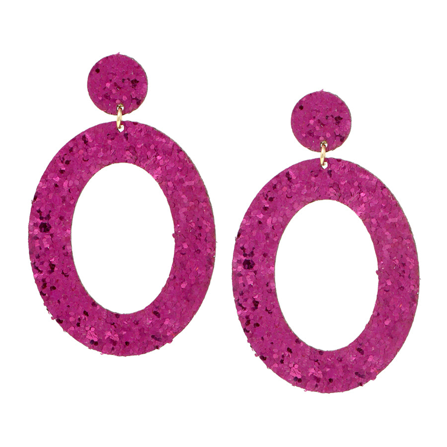 Double Sided Glitter Oval Hoop Drop Earrings