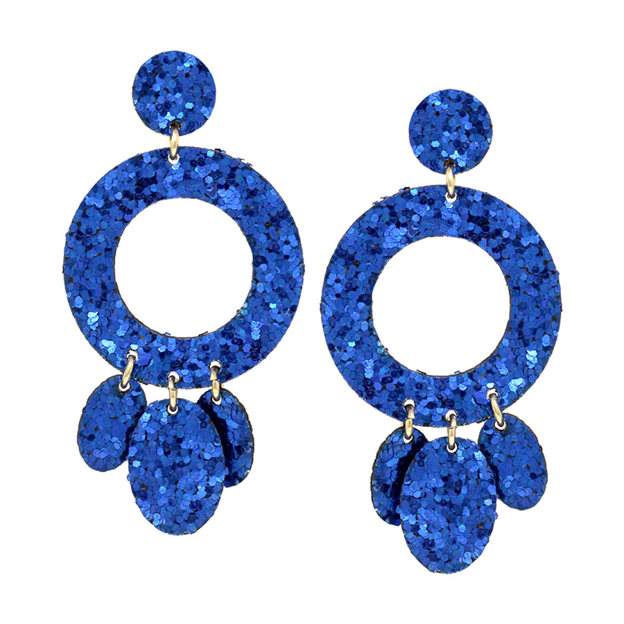 Double Sided Glitter Hoop With Disc Dangle Drop Earrings