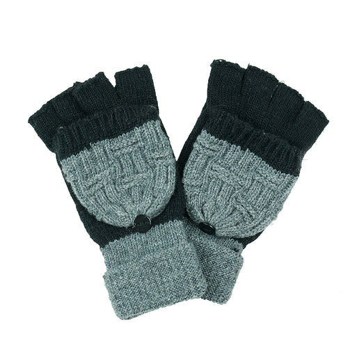 Two Tone Convertible Gloves (Fingerless And Mittens)