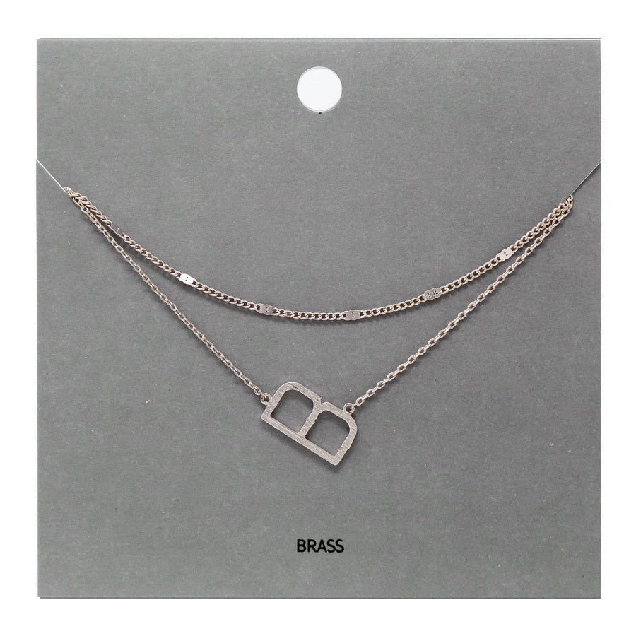 B Initial Double Layer Short Necklace