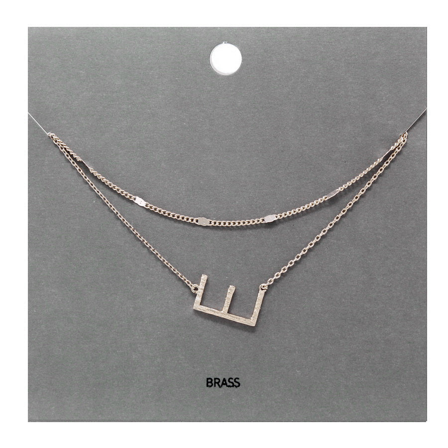 E Initial Double Layer Short Necklace