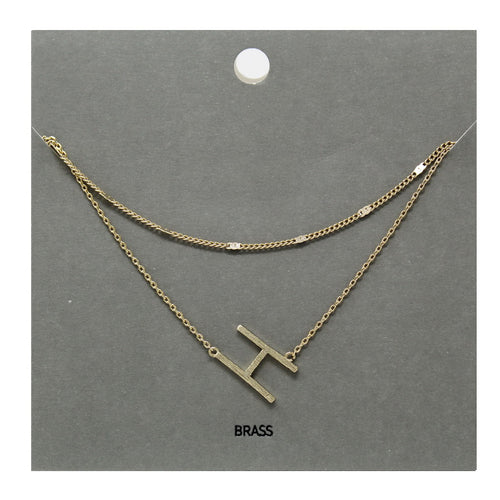H Initial Double Layer Short Necklace