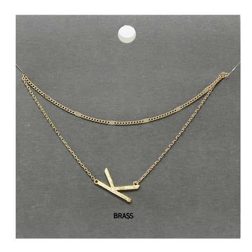 K Initial Double Layer Short Necklace