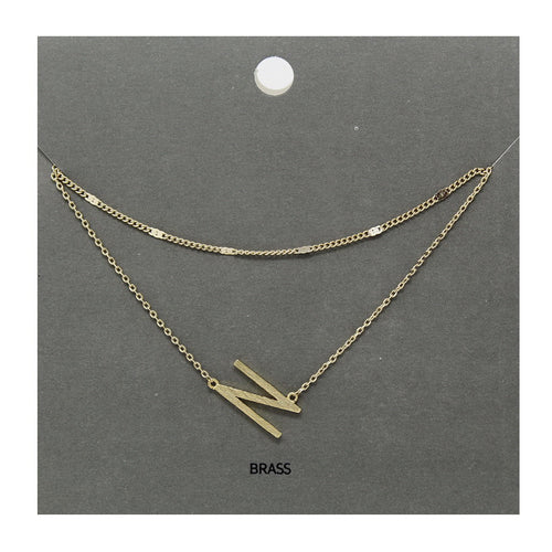 N Initial Double Layer Short Necklace