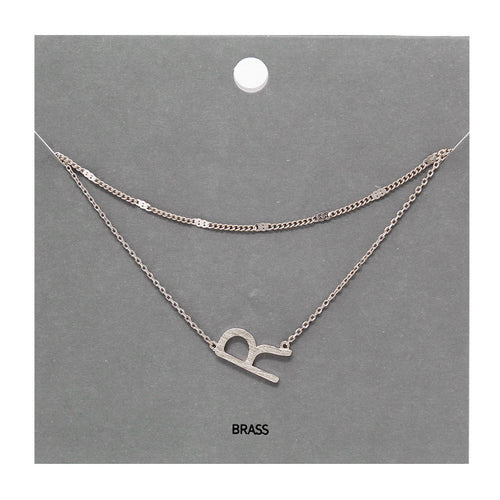 R Initial Double Layer Short Necklace