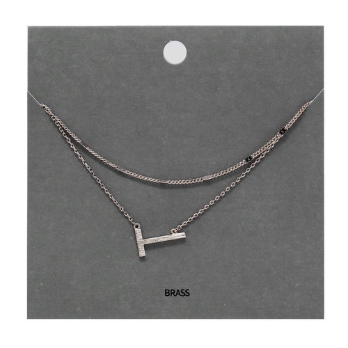T Initial Double Layer Short Necklace