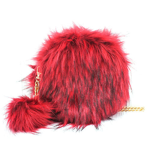 Round Faux Fur Pom Pom Clutch Bag