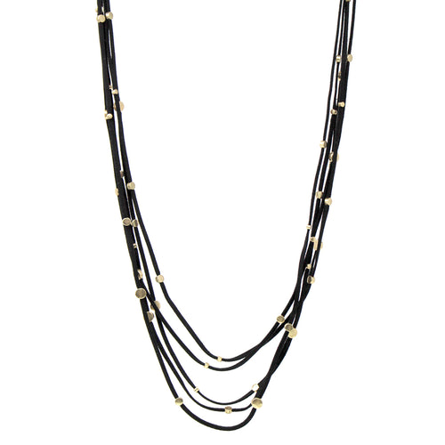 Faux Leather With Metal Disc Station Multi Layered Long Necklace