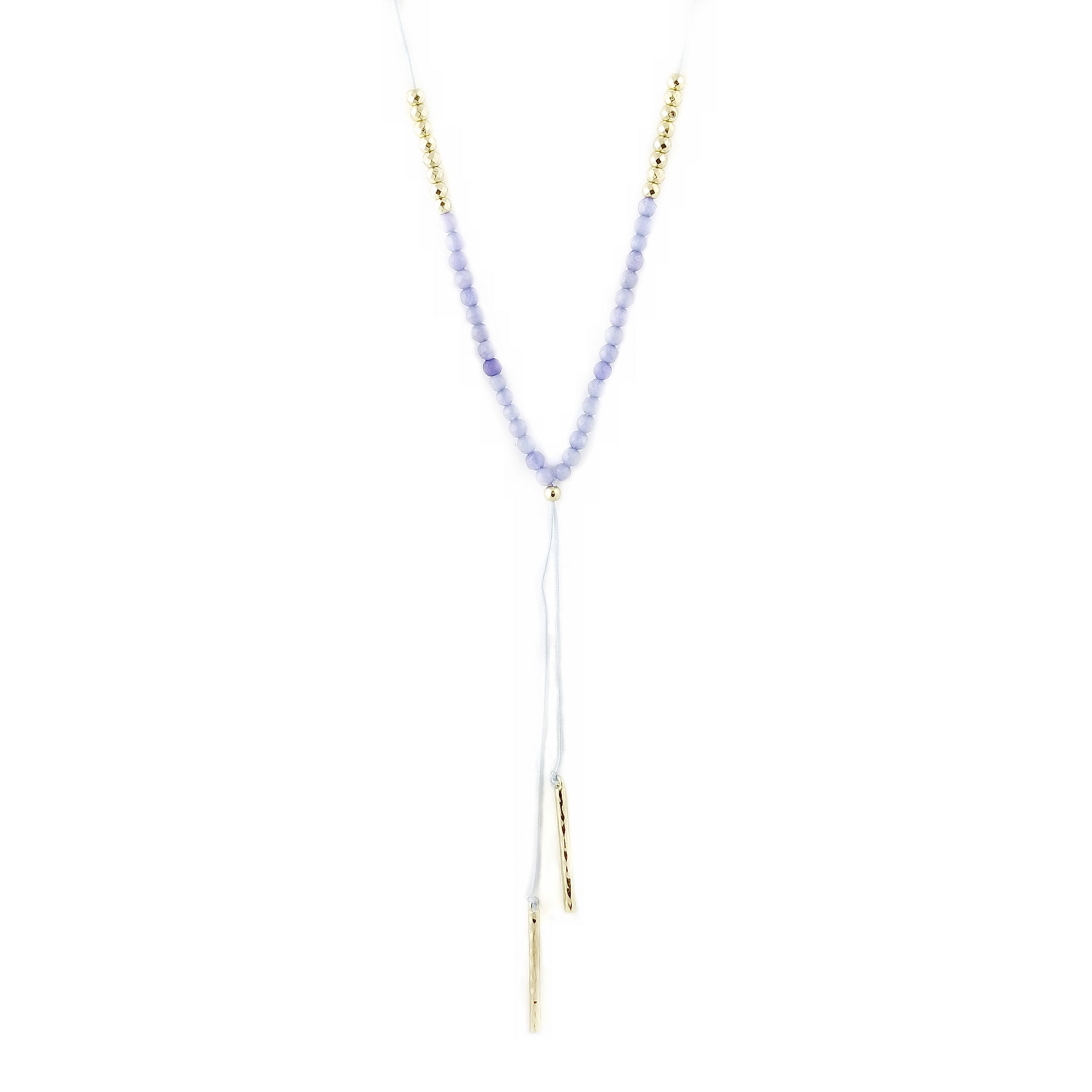 Double Bar Beaded Sliding Knot Long Necklace