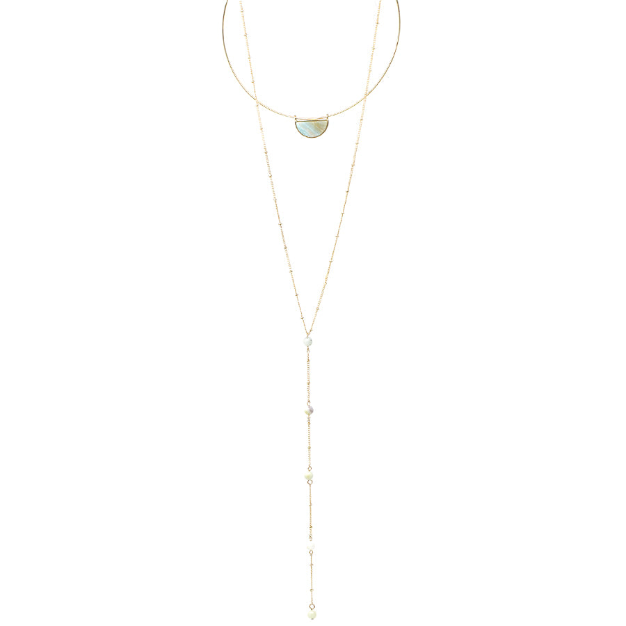 Semi Precious Stone Pendant Choker And Y- Shape Necklace Set