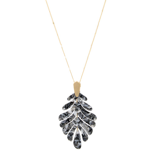 Textured Acetate Leaf Pendant Long Necklace