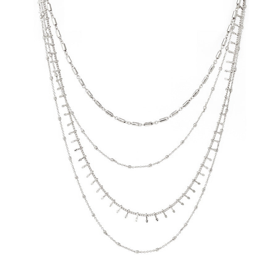 Lightweight Textured Chain Multi Strand Necklace