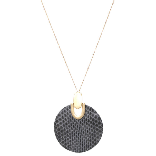 Snake Skin Print Genuine Leather Disc Pendant Long Necklace