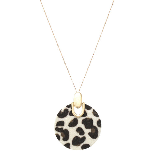 Leopard Print Faux Leather Disc Pendant Long Necklace