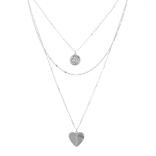 Coin And Heart Pendant Triple Layered Necklace