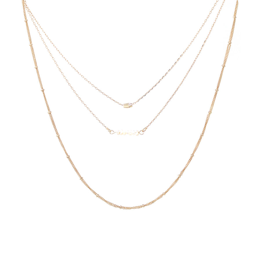 Fresh Water Pearl Beaded Bar With Triple Layered Short Necklace