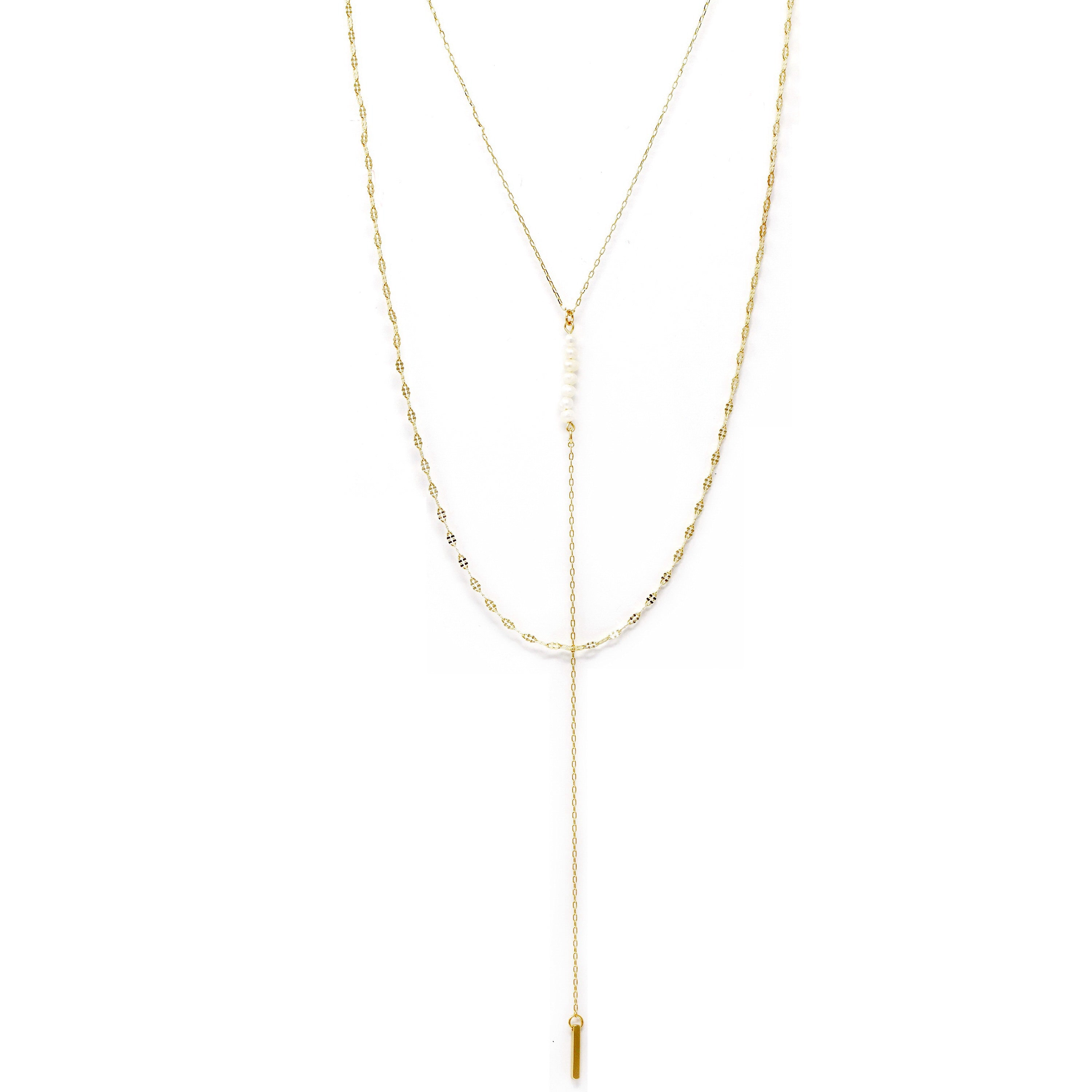 Pearl Linear Mini Bar Layered Lariat Necklace