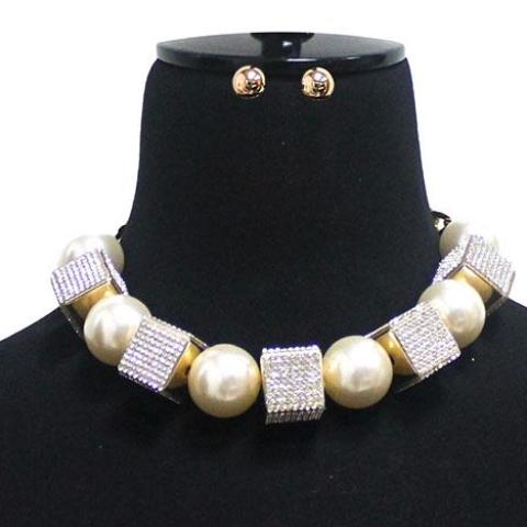 Crstal Cube Pearl Ball Necklace