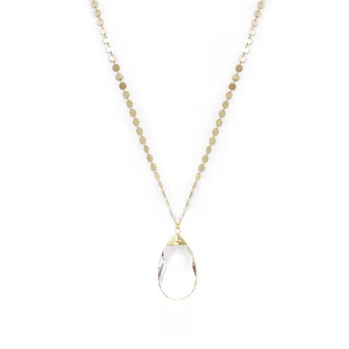 Gold Dipped Glass Teardrop Pendant Long Necklace