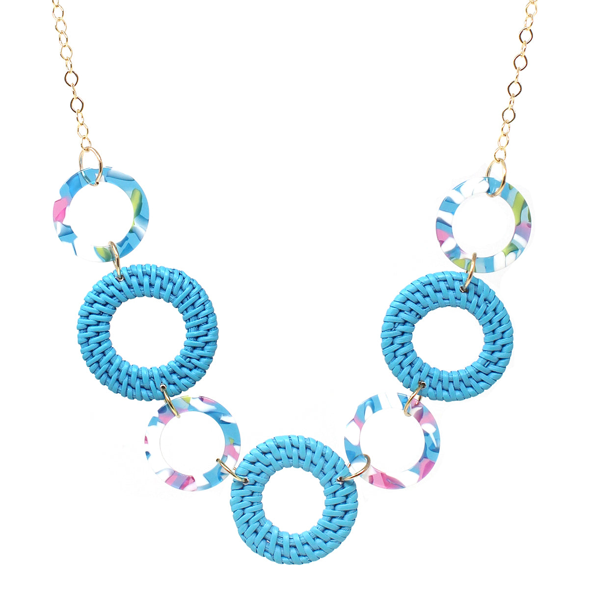 Color Rattan With Acetate Hoop Linked Long Necklace