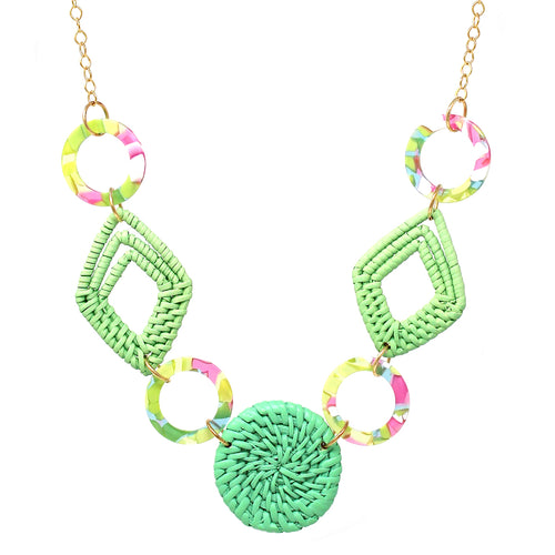 Color Rattan With Acetate Hoop Long Necklace